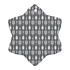 Gray And White Kitchen Utensils Pattern Ornament (snowflake)