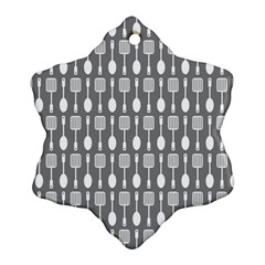 Gray And White Kitchen Utensils Pattern Snowflake Ornament (2-Side)