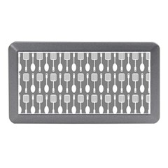 Gray And White Kitchen Utensils Pattern Memory Card Reader (Mini)