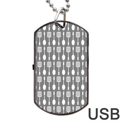 Gray And White Kitchen Utensils Pattern Dog Tag Usb Flash (one Side)