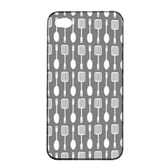 Gray And White Kitchen Utensils Pattern Apple iPhone 4/4s Seamless Case (Black)