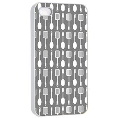 Gray And White Kitchen Utensils Pattern Apple iPhone 4/4s Seamless Case (White)