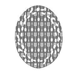 Gray And White Kitchen Utensils Pattern Oval Filigree Ornament (2-Side)