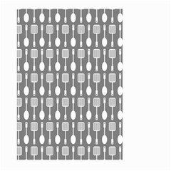 Gray And White Kitchen Utensils Pattern Large Garden Flag (Two Sides)