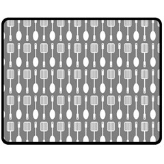 Gray And White Kitchen Utensils Pattern Double Sided Fleece Blanket (Medium)