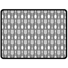 Gray And White Kitchen Utensils Pattern Double Sided Fleece Blanket (large)