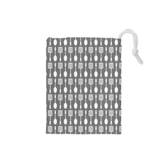 Gray And White Kitchen Utensils Pattern Drawstring Pouches (small)