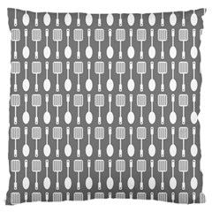 Gray And White Kitchen Utensils Pattern Large Flano Cushion Cases (One Side)