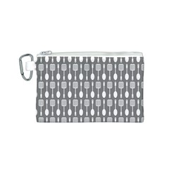 Gray And White Kitchen Utensils Pattern Canvas Cosmetic Bag (S)
