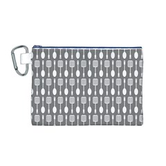 Gray And White Kitchen Utensils Pattern Canvas Cosmetic Bag (m)