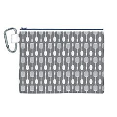 Gray And White Kitchen Utensils Pattern Canvas Cosmetic Bag (L)