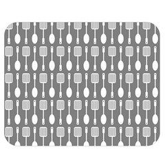 Gray And White Kitchen Utensils Pattern Double Sided Flano Blanket (Medium)
