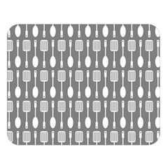 Gray And White Kitchen Utensils Pattern Double Sided Flano Blanket (Large)