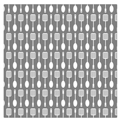 Gray And White Kitchen Utensils Pattern Large Satin Scarf (Square)