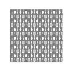 Gray And White Kitchen Utensils Pattern Small Satin Scarf (square)