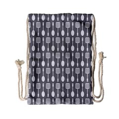 Gray And White Kitchen Utensils Pattern Drawstring Bag (small)