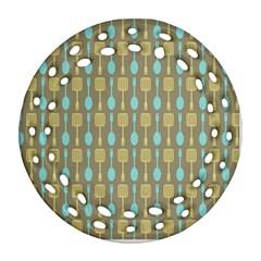 Spatula Spoon Pattern Round Filigree Ornament (2Side)