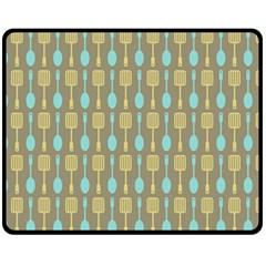 Spatula Spoon Pattern Double Sided Fleece Blanket (Medium)