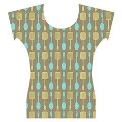 Spatula Spoon Pattern Women s Cap Sleeve Top