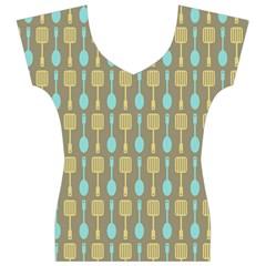 Spatula Spoon Pattern Women s V-Neck Cap Sleeve Top