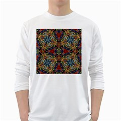 Magnificent Kaleido Design White Long Sleeve T-Shirts