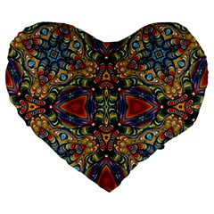 Magnificent Kaleido Design Large 19  Premium Flano Heart Shape Cushions