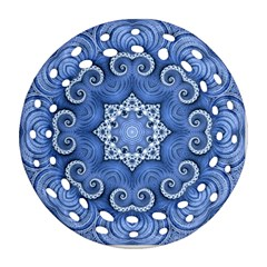 Awesome Kaleido 07 Blue Round Filigree Ornament (2Side)