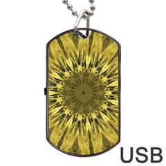 Kaleido Flower,golden Dog Tag USB Flash (Two Sides)