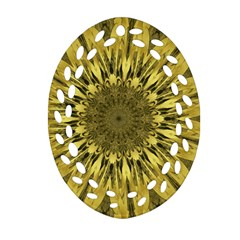 Kaleido Flower,golden Oval Filigree Ornament (2 Side)
