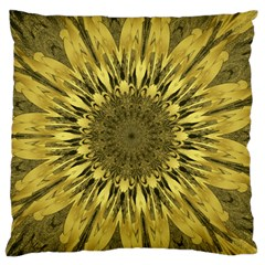 Kaleido Flower,golden Large Flano Cushion Cases (one Side)