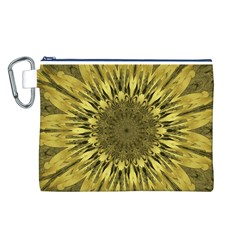 Kaleido Flower,golden Canvas Cosmetic Bag (L)
