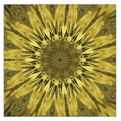 Kaleido Flower,golden Large Satin Scarf (square)