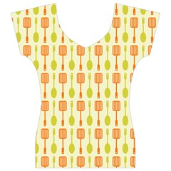 Spatula Spoon Pattern Women s V-Neck Cap Sleeve Top