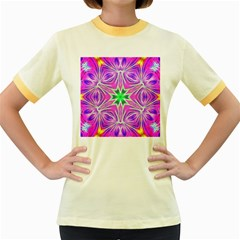 Kaleido Art, Pink Fractal Women s Fitted Ringer T Shirts