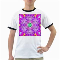 Kaleido Art, Pink Fractal Ringer T-Shirts