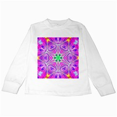 Kaleido Art, Pink Fractal Kids Long Sleeve T-Shirts
