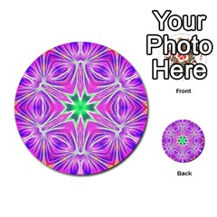 Kaleido Art, Pink Fractal Multi Purpose Cards (round)
