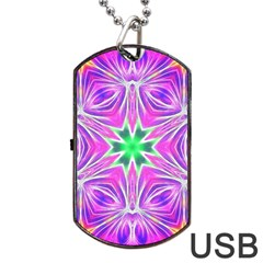 Kaleido Art, Pink Fractal Dog Tag USB Flash (One Side)