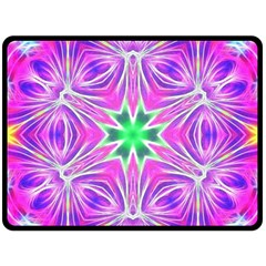 Kaleido Art, Pink Fractal Double Sided Fleece Blanket (Large)