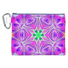 Kaleido Art, Pink Fractal Canvas Cosmetic Bag (XXL)