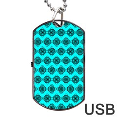 Abstract Knot Geometric Tile Pattern Dog Tag USB Flash (One Side)