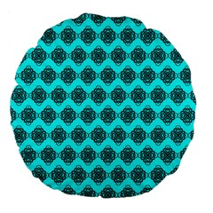 Abstract Knot Geometric Tile Pattern Large 18  Premium Flano Round Cushions