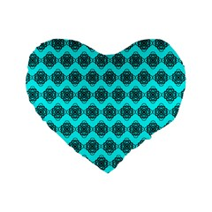 Abstract Knot Geometric Tile Pattern Standard 16  Premium Flano Heart Shape Cushions