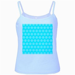 Abstract Knot Geometric Tile Pattern Baby Blue Spaghetti Tanks