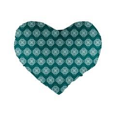 Abstract Knot Geometric Tile Pattern Standard 16  Premium Flano Heart Shape Cushions