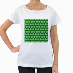 Abstract Knot Geometric Tile Pattern Women s Loose Fit T Shirt (white)