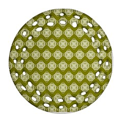 Abstract Knot Geometric Tile Pattern Round Filigree Ornament (2Side)