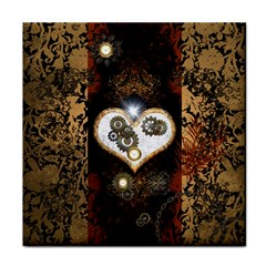 Steampunk, Awesome Heart With Clocks And Gears Tile Coasters