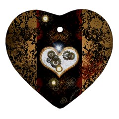 Steampunk, Awesome Heart With Clocks And Gears Ornament (heart)