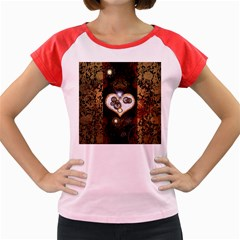 Steampunk, Awesome Heart With Clocks And Gears Women s Cap Sleeve T-Shirt